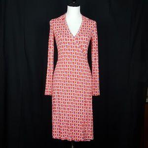 Boden Cocktail Jersey Wrap Long Sleeve Dress 4R